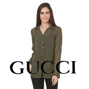 Gucci Silk Shirt Size 8 (Italian 44) Made in Italy